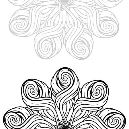 Vector abstract black and white ethnic mandala background with a place for a text