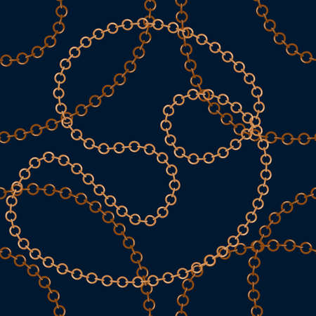 Golden tangled chains vector seamless pattern on a dark background