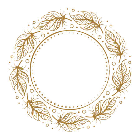 Vector round dotted frame frame with boho style feathers decoration Illustration