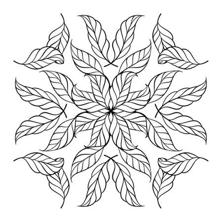 Black and white anristress coloring floral square motif.