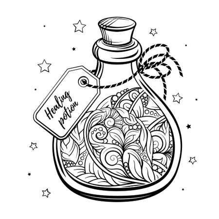 Bottle with magic calming potion. Black and white vector graphic. Antistress coloring page.