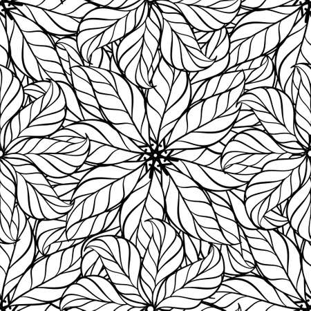 Black and white leaves vector seamless pattern Illustration