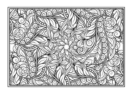 Black and white decorative ornamental coloring page