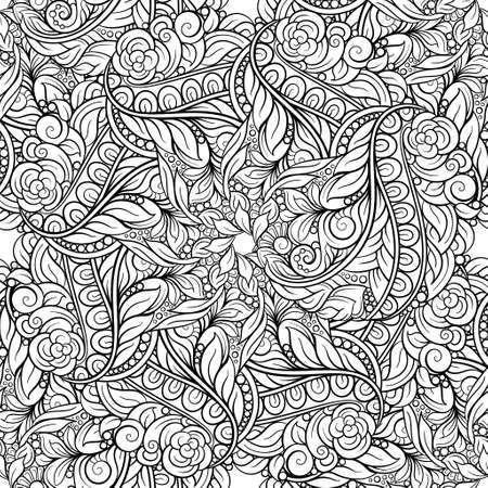 Black and white abstract floral seamless pattern.
