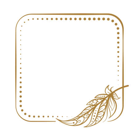 Vector square dotted frame frame with boho style feather decoration Illustration