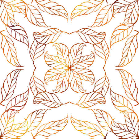 Abstract decorative floral pattern in watercolor style. Colorful leaves background