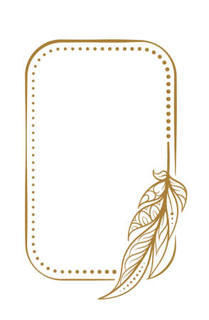 Vector vertical dotted frame frame with boho style feather decoration
