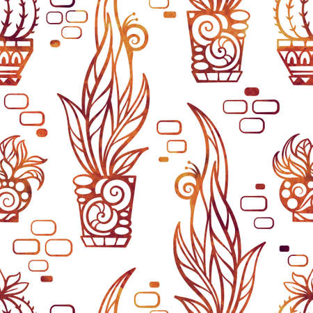 Stylized houseplants colorful seamless pattern. Cozy watercolor style background. Illustration