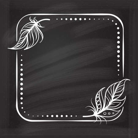 Vector square dotted frame frame with boho style feathers decoration on a chalkboard background