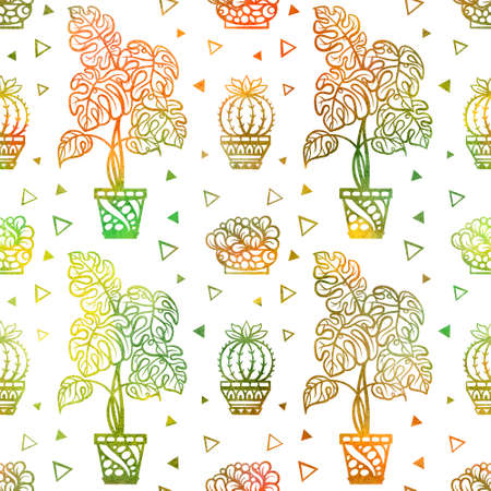 Stylized houseplants colorful seamless pattern. Cozy watercolor style background. Banque d'images
