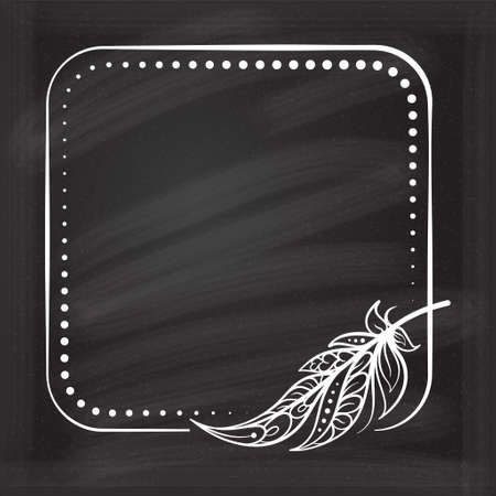 Vector square dotted frame frame with boho style feather decoration on a chalkboard background