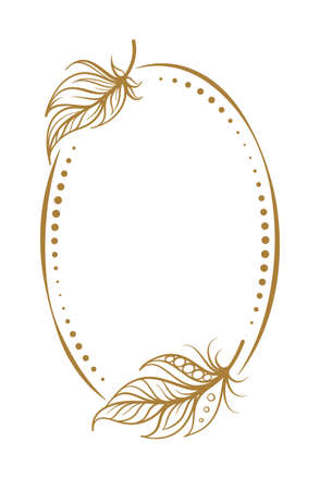 Vector vertical dotted oval frame frame with boho style feathers decoration