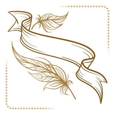 Vintage blank scroll with boho style feathers decoration. Retro style vector graphic. Illustration