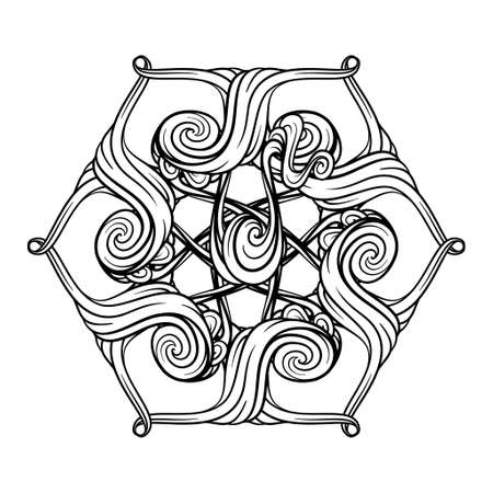 Vector black and white abstract New Year snowflake motif