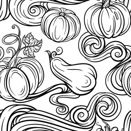 Black and white autumn vector seamless pattern. Pumpkins, raindrops and autumn leaves background. 向量圖像