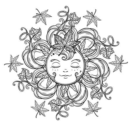 Autumn harvest sun spirit. Black and white coloring page.