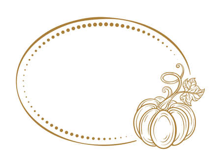 Vector horizontal vintage oval frame on a white background with autumn pumpkin decoration.