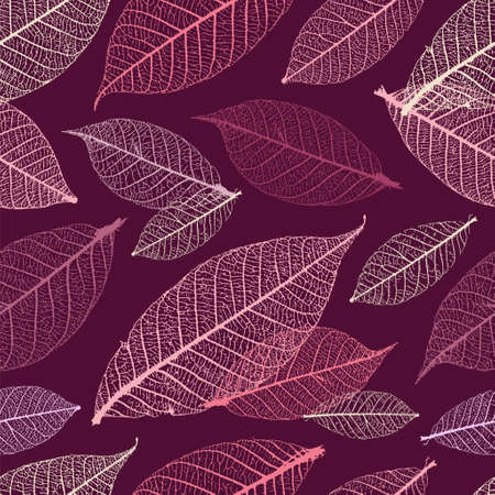 Autumnal skeleton leaves vector seamless pattern. Purple palette.
