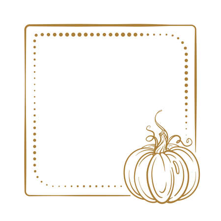 Vector vintage square frame on a white background with autumn pumpkin decoration.