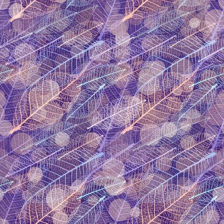 Autumnal skeleton leaves vector seamless pattern