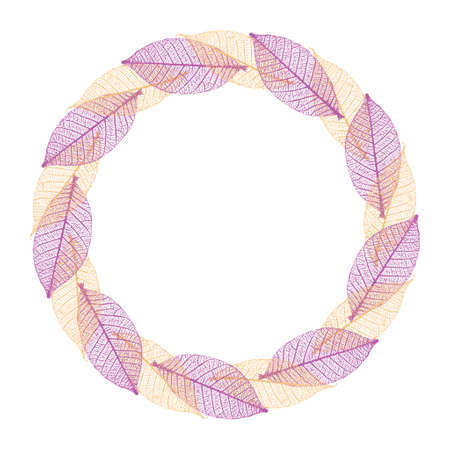 Skeleton leaves autumnal round frame. Colorful wreath on a white background.