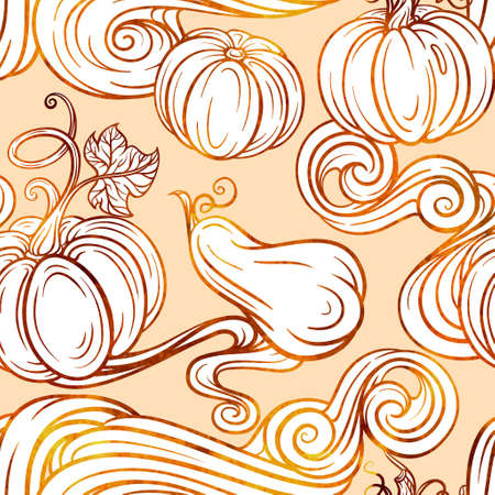 Colorful autumn vector seamless pattern with pumpkins and maple leaves. Sunny background in warm color palette.