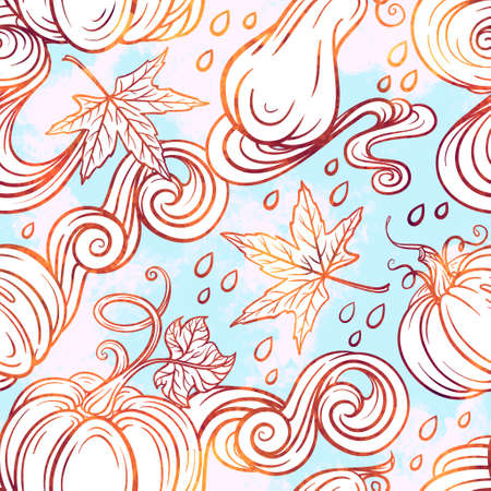 Colorful autumn vector seamless pattern with raindrops, pumpkins and maple leaves.