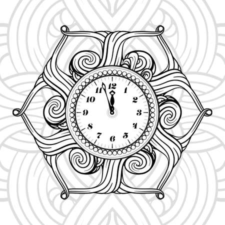 Black and white New Year vector clock