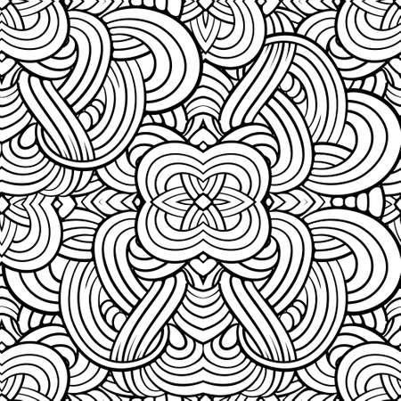 Black and white abstract tangle seamless pattern.