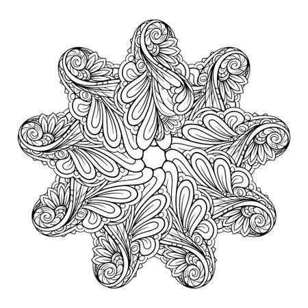 Black and white ethnic style floral mandala pattern for antistress coloring. Star shape. Abstract coloring page.