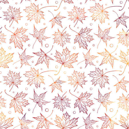 Falling autumn maple leaves vector seamless pattern. Colorful autumnal background.