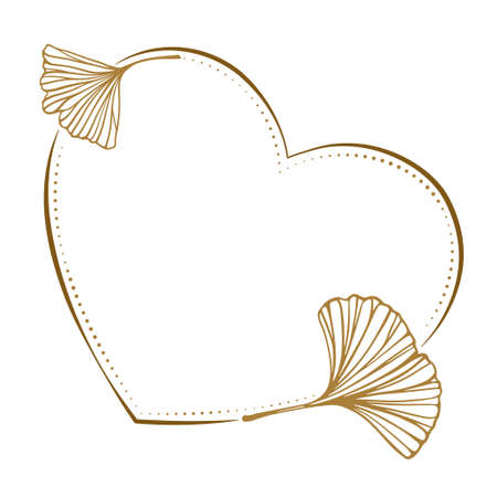 Vector heart shape dotted frame with ginkgo leaves decoration