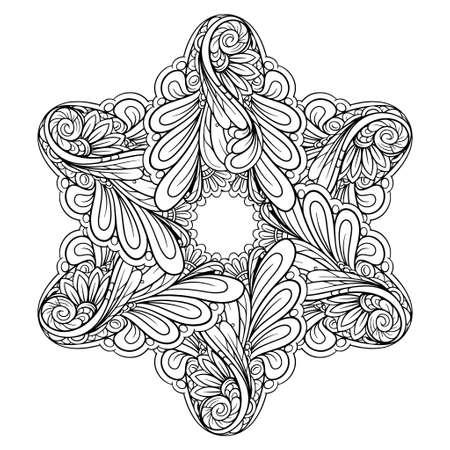Vector abstract black and white ethnic star shape mandala motif 向量圖像