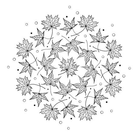 Black and white autumn maple leaves mandala motif. Antistress coloring page.