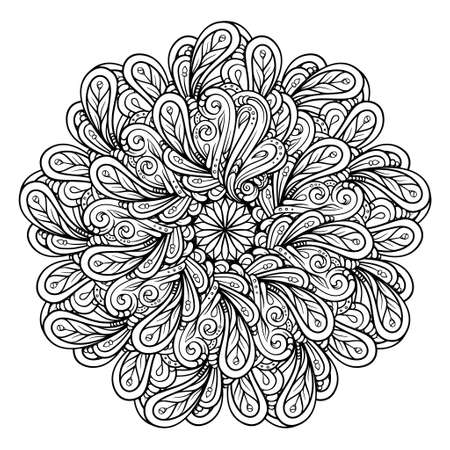Black and white ethnic style floral mandala pattern for antistress coloring. Abstract coloring page. 向量圖像