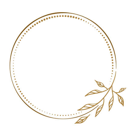 Vector round dotted frame with floral decoration 向量圖像