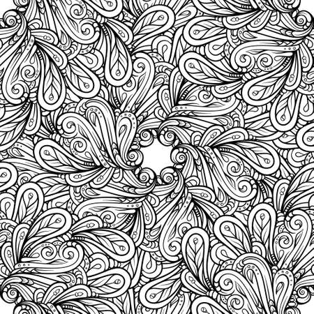 Black and white abstract doodles seamless pattern.