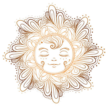 Colorful ornamental sun illustration.