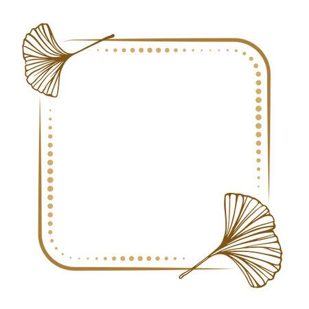 Vector square dotted frame with ginkgo biloba leaf decoration