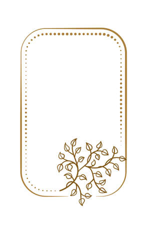 Vector vertical rectangle dotted frame with floral decoration