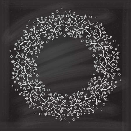 Vector round frame with floral decoration on chalkboard background. Herbal wreath.