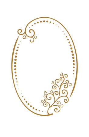 Vector vertical oval dotted frame with floral decoration