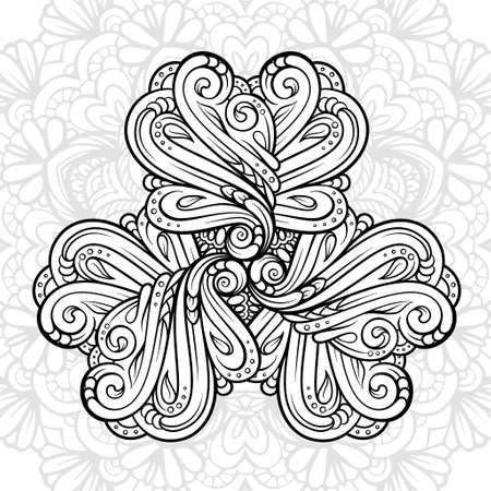 Black and white ethnic style floral motif for antistress coloring. Abstract coloring page.
