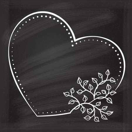 Vector heart shape dotted frame with floral decoration