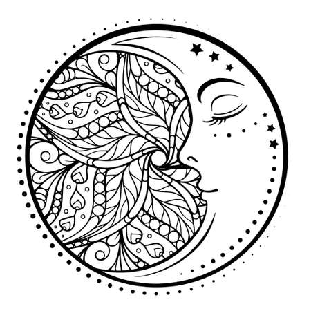 Ethnic cresent moon motif. Antistress coloring page