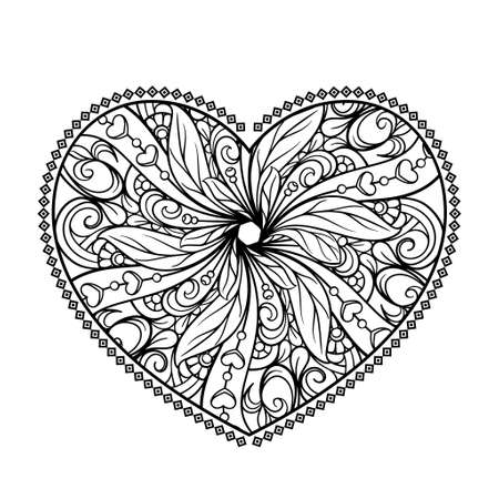 Black and white patterned heart. Valrntines Day coloring page