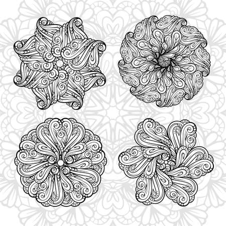 Black and white ethnic style floral mandalas set for antistress coloring. Abstract coloring page.