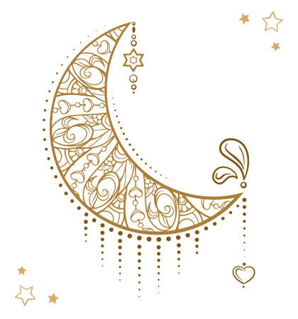 Golden cresent moon temporary tattoo. Ethnic style vector graphic. 向量圖像