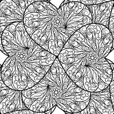 Black and white abstract hearts doodles seamless pattern. 向量圖像