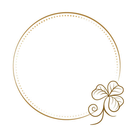 Vector round dotted frame with clover decoration